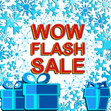Big winter sale poster with WOW FLASH SALE text. Advertising vector banner Stock Photos