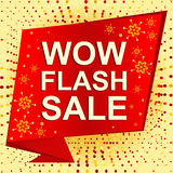 Big winter sale poster with WOW FLASH SALE text. Advertising vector banner Stock Image