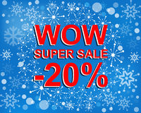 Big winter sale poster with WOW SUPER SALE MINUS 20 PERCENT text. Advertising vector banner. Big winter sale poster with WOW SUPER SALE MINUS 20 PERCENT text stock illustration