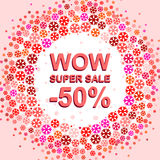 Big winter sale poster with WOW SUPER SALE MINUS 50 PERCENT text. Advertising vector banner. Big winter sale poster with WOW SUPER SALE MINUS 50 PERCENT text Stock Illustration