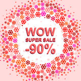 Big winter sale poster with WOW SUPER SALE MINUS 90 PERCENT text. Advertising vector banner. Big winter sale poster with WOW SUPER SALE MINUS 90 PERCENT text Royalty Free Stock Photography