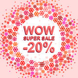 Big winter sale poster with WOW SUPER SALE MINUS 20 PERCENT text. Advertising vector banner. Big winter sale poster with WOW SUPER SALE MINUS 20 PERCENT text royalty free illustration