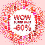 Big winter sale poster with WOW SUPER SALE MINUS 60 PERCENT text. Advertising vector banner Royalty Free Stock Images