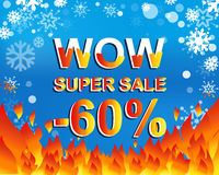 Big winter sale poster with WOW SUPER SALE MINUS 60 PERCENT text. Advertising vector banner Royalty Free Stock Photo