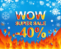 Big winter sale poster with WOW SUPER SALE MINUS 40 PERCENT text. Advertising vector banner. Big winter sale poster with WOW SUPER SALE MINUS 40 PERCENT text Stock Image