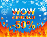 Big winter sale poster with WOW SUPER SALE MINUS 50 PERCENT text. Advertising vector banner. Big winter sale poster with WOW SUPER SALE MINUS 50 PERCENT text Vector Illustration