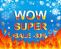 Big winter sale poster with WOW SUPER SALE MINUS 30 PERCENT text. Advertising vector banner Stock Image