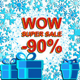 Big winter sale poster with WOW SUPER SALE MINUS 90 PERCENT text. Advertising vector banner Stock Images