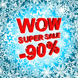 Big winter sale poster with WOW SUPER SALE MINUS 90 PERCENT text. Advertising vector banner Stock Photo