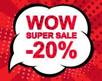 Big winter sale poster with WOW SUPER SALE MINUS 20 PERCENT text. Advertising vector banner. Big winter sale poster with WOW SUPER SALE MINUS 20 PERCENT text vector illustration