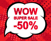 Big winter sale poster with WOW SUPER SALE MINUS 50 PERCENT text. Advertising vector banner. Big winter sale poster with WOW SUPER SALE MINUS 50 PERCENT text Stock Photography