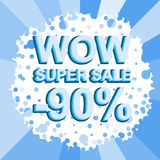 Big winter sale poster with WOW SUPER SALE MINUS 90 PERCENT text. Advertising vector banner. Big winter sale poster with WOW SUPER SALE MINUS 90 PERCENT text Stock Photo