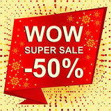 Big winter sale poster with WOW SUPER SALE MINUS 50 PERCENT text. Advertising vector banner. Template Royalty Free Illustration
