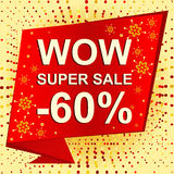 Big winter sale poster with WOW SUPER SALE MINUS 60 PERCENT text. Advertising vector banner Royalty Free Stock Photography