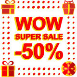 Big winter sale poster with WOW SUPER SALE MINUS 50 PERCENT text. Advertising vector banner. Template Vector Illustration
