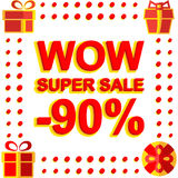 Big winter sale poster with WOW SUPER SALE MINUS 90 PERCENT text. Advertising vector banner. Template Royalty Free Stock Photos