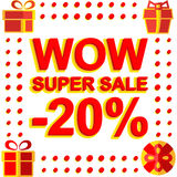 Big winter sale poster with WOW SUPER SALE MINUS 20 PERCENT text. Advertising vector banner. Template vector illustration
