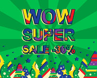 Big winter sale poster with WOW SUPER SALE MINUS 30 PERCENT text. Advertising vector banner Stock Photo