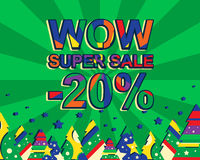Big winter sale poster with WOW SUPER SALE MINUS 20 PERCENT text. Advertising vector banner. Template with christmas trees. Green background vector illustration