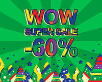 Big winter sale poster with WOW SUPER SALE MINUS 60 PERCENT text. Advertising vector banner. Template with christmas trees. Green background Royalty Free Stock Photo