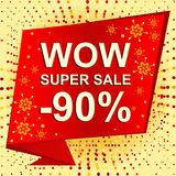 Big winter sale poster with WOW SUPER SALE MINUS 90 PERCENT text. Advertising vector banner. Big winter sale poster with WOW SUPER SALE MINUS 90 PERCENT text Royalty Free Stock Images