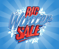 Big winter sale retro design. Big winter sale design, retro style with rays Royalty Free Stock Image