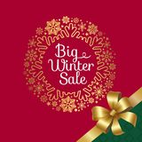 Big Winter Sale with Ribbon Vector Illustration. Big winter sale, headline written in circle frame with snowflakes, there is ribbon and bow as sign of present Royalty Free Stock Photo