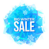 Big Winter Sale sign on blue ice and snowflakes Royalty Free Stock Photos