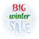 Big winter sale sign, bright and colorful. Design template for banners, brochures, flyers and so. Stock Photo