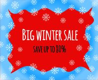 Big winter sale sign save up to eighty percent on red background Royalty Free Stock Photography
