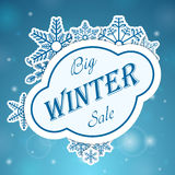 Big winter sale on snowflake Royalty Free Stock Photography