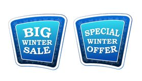 Big winter sale and special winter offer on retro blue banners w Royalty Free Stock Photo
