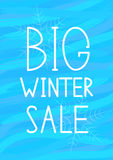 Big winter sale-02. White heading `Big winter sale` on the blue background Stock Illustration