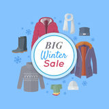 Big Winter Sale. Winter Clothes Web Banner Poster Royalty Free Stock Photography