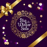 Big Winter Sale with Bokeh Vector Illustration Stock Photography