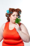 The big woman lifestyle beauty body care, diet and weight Royalty Free Stock Photography