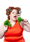 The big woman lifestyle beauty body care, diet and weight Stock Photography