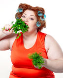 The big woman lifestyle beauty body care, diet and weight Royalty Free Stock Photo