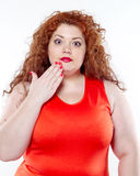 The big woman with red lipstick and large abdominal pain, bad mood Stock Image
