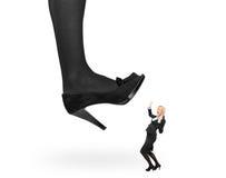 Big woman shoe stepping on an affaraid woman stock photos