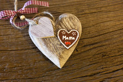 Big wood heart with Stock Photos