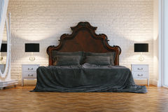 Big wooden bed with grey cloth in white contemporary bedroom Royalty Free Stock Photos
