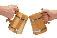 Big wooden beer mugs Stock Photos