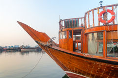 Big wooden boat moored up in a port Royalty Free Stock Photo