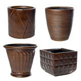 Big wooden flowerpots Royalty Free Stock Photography
