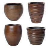 Big wooden flowerpots Royalty Free Stock Photos