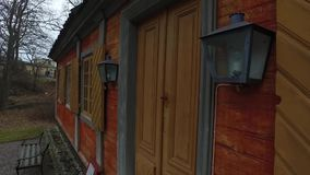 Big Wooden Orange House. At Skansen in Stockholm, Sweden. Using of DJI Osmo for better stabilization and smooth motion stock video footage