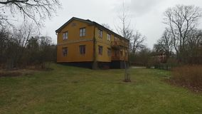 Big Wooden Orange House. At Skansen in Stockholm, Sweden. Using of DJI Osmo for better stabilization and smooth motion stock footage