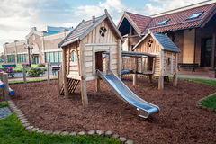 Big wooden playground at shopping mall Royalty Free Stock Image