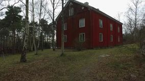 Big Wooden Red House. At Skansen in Stockholm, Sweden. Using of DJI Osmo for better stabilization and smooth motion stock video footage
